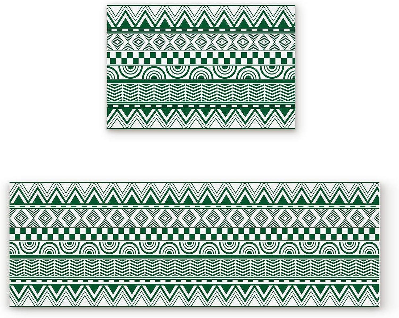 SODIKA Non Slip Kitchen Rug Set 2 Piece, Floor Mat Carpet Runner,Bohemian Pattern (19.7x31.5in+19.7x47.2 inches)