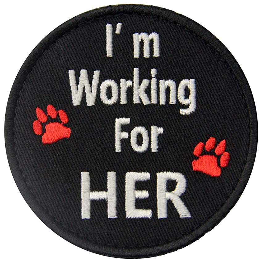 Service Dog I'm Working for Her Vests/Harnesses Emblem Embroidered Fastener Hook & Loop Patch