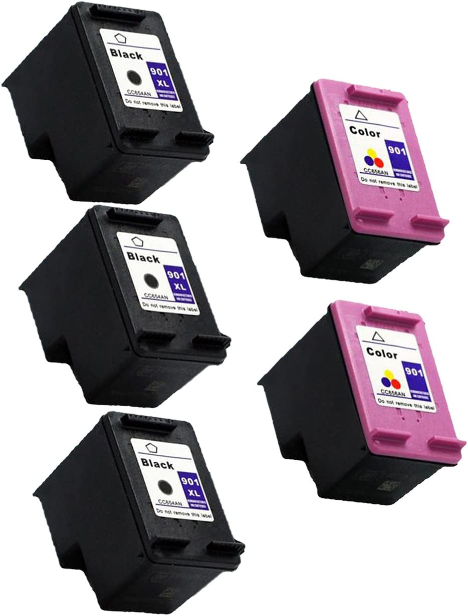 5 Packs Remanufactured for Surprise price Hp 901xl Color Ink 2x Cc65 Japan Maker New 3x Black
