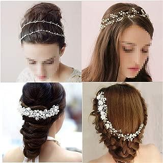 YallFF 4 Pieces Wedding Hair Accessories for Brides Bridesmaid, Bridal Headpiece, Bridal Hair Comb, Rhinestone Pearl Wedding Headband Headpiece Tiara Hair Vine