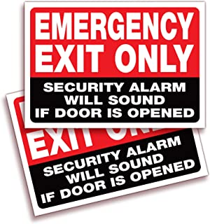 Emergency Exit Only, Security Alarm Will Sound if Door is Opened Signs Stickers – 2 Pack 10x7 Inch – Premium Self-Adhesive...