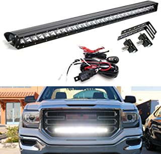 iJDMTOY Behind Grille Mount 30-Inch LED Light Bar Kit For 2014-18 GMC Sierra 1500 2500 3500 HD, Includes (1) 150W CREE LED Lightbar, Mesh Grill Mounting Brackets & On/Off Switch Wiring Kit