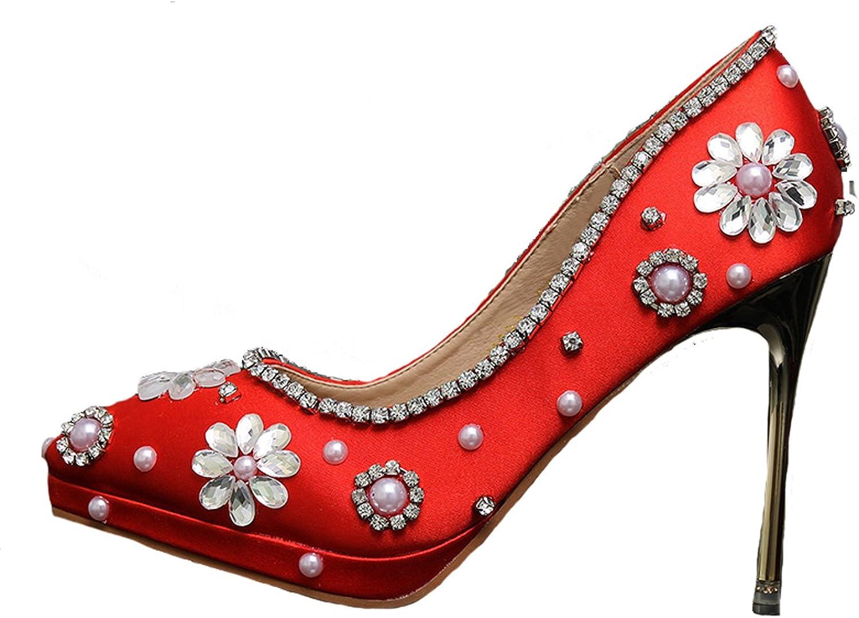 BoShi Women's Red PU 10 cm Heel Bridal shoes Wedding Party Pumps