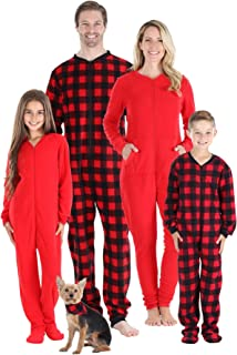 Family Matching Fleece Buffalo Plaid and Solid Red Onesie Pajamas