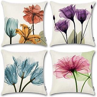 روکش های بالش پرتابی گلدار ONWAY روکش های بالش تزئینی گل صورتی 18x18 برای دکوراسیون بهاره ، مجموعه ای از 4
