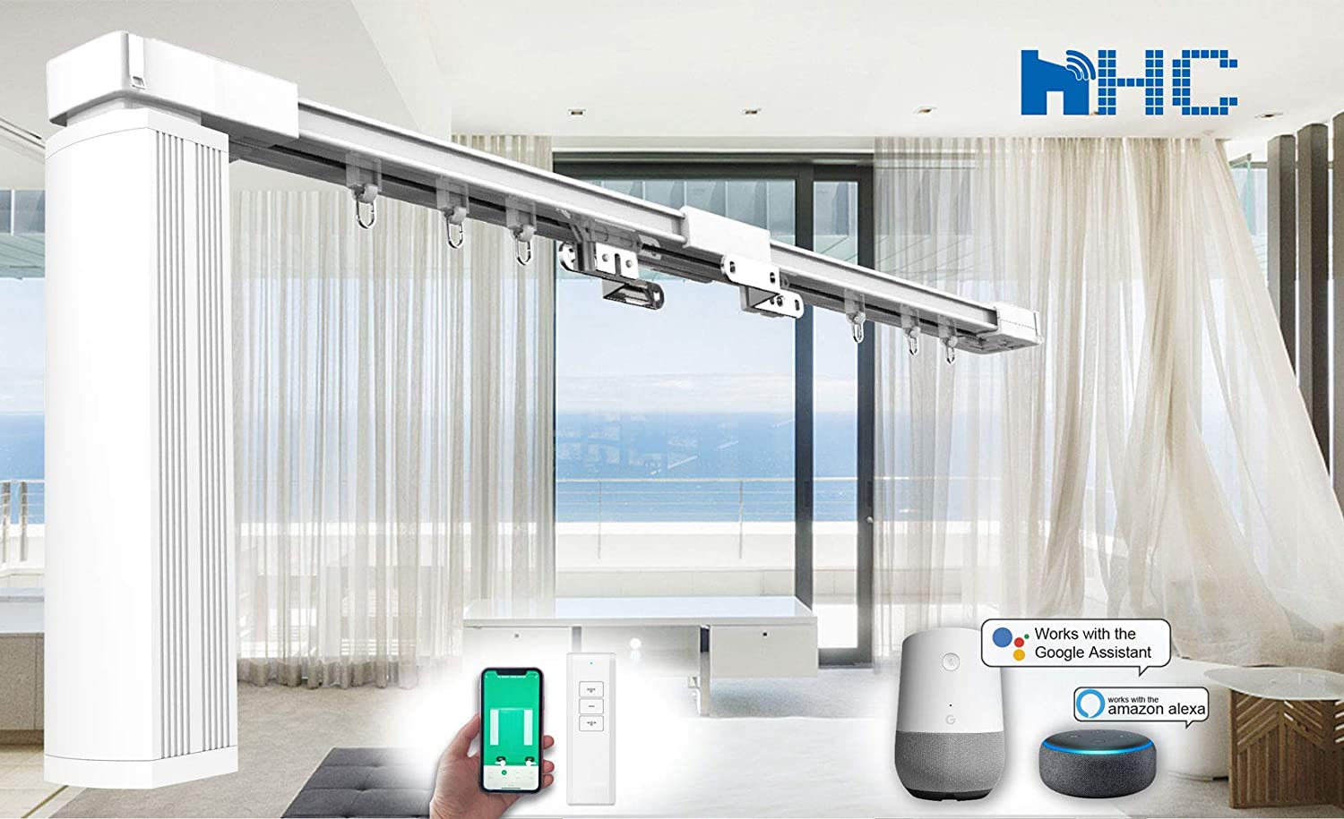 """HC-SMART-HOME 3-Meter DIY Smart Electric Curtain Tracks HT700BS - Remote control motorized drape rails, Work with mobile apps, Alexa, Google Home, DIY up to 300 cm (118"""") 118"""" 3M"""