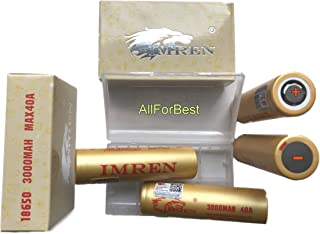 4 Gold IMREN 3000mAh, 3.7V 20A/40A, Flat Top,18-65-0 Size Battery, for Flashlight