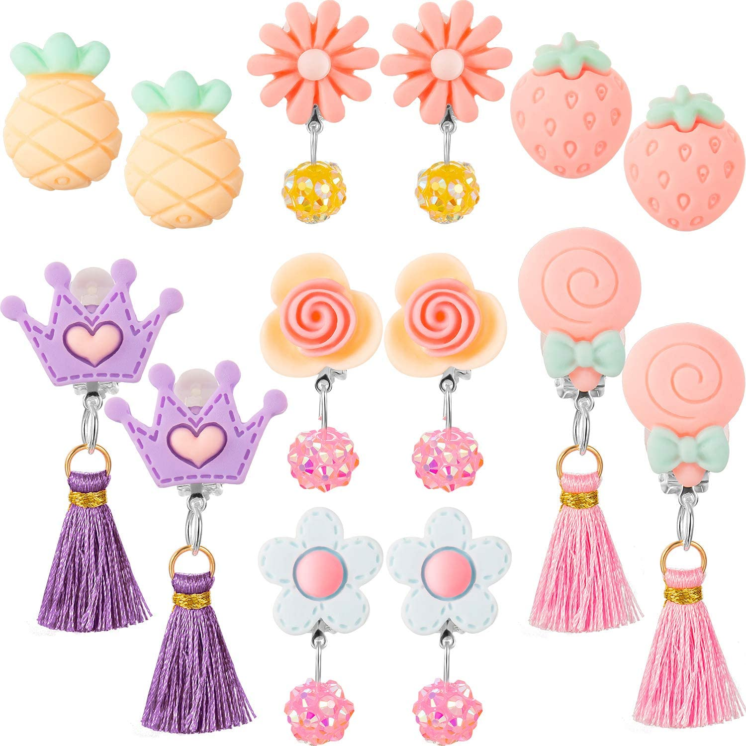 Hicarer 7 Pairs Christmas Crystal Acrylic Clip on Earrings Princess Jewelry Earring and 7 Pairs Earrings Pads in Pink Box (Style 7)