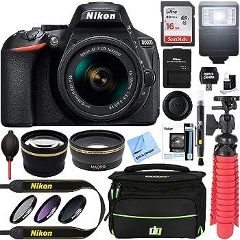 Nikon D5600 24.2MP Digital SLR Camera w/AF-P 18-55mm f/3.5-5.6G VR Lens (1576B) - 16GB Deluxe Kit(Renewed)
