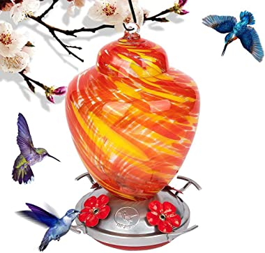 ANEAR Birds Feeder Hummingbird Feeder, Hand Blown Glass Outdoor Hummingbird Feeder, Large Capacity, 30 Ounces, 4 Feeding Meta