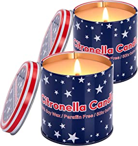 Citronella Soy Candles Outdoor, Yvenjoy American-Flag Long-Lasting Scented Candles Gifts Set for Women Natural Soy Wax Candle, Portable Travel Jar Candle for Home, Garden, Backyard, 2-Pack x 8oz
