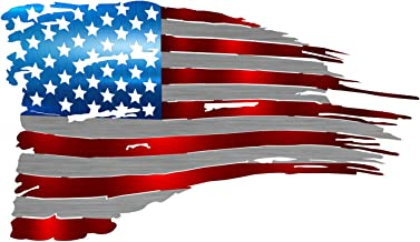 Precision Metal Art Tattered Flag Steel Laser Cut Wall Art with a Vibrant Color American Flag Pattern 24