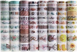 Lychii Lot de 80 rouleaux de ruban adhésif décoratif Washi à motifs multiples pour bricolage, journaux, planificateurs quo...