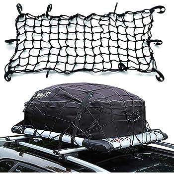 Mall Trucks 4x6 Travel Luggage Net,12 Adjustable Hooks for Rooftop Cargo Carrier,Jeep Rack Trunk etc. KKmoon Super Duty Bungee Cargo Net Pickup Bed Trailer