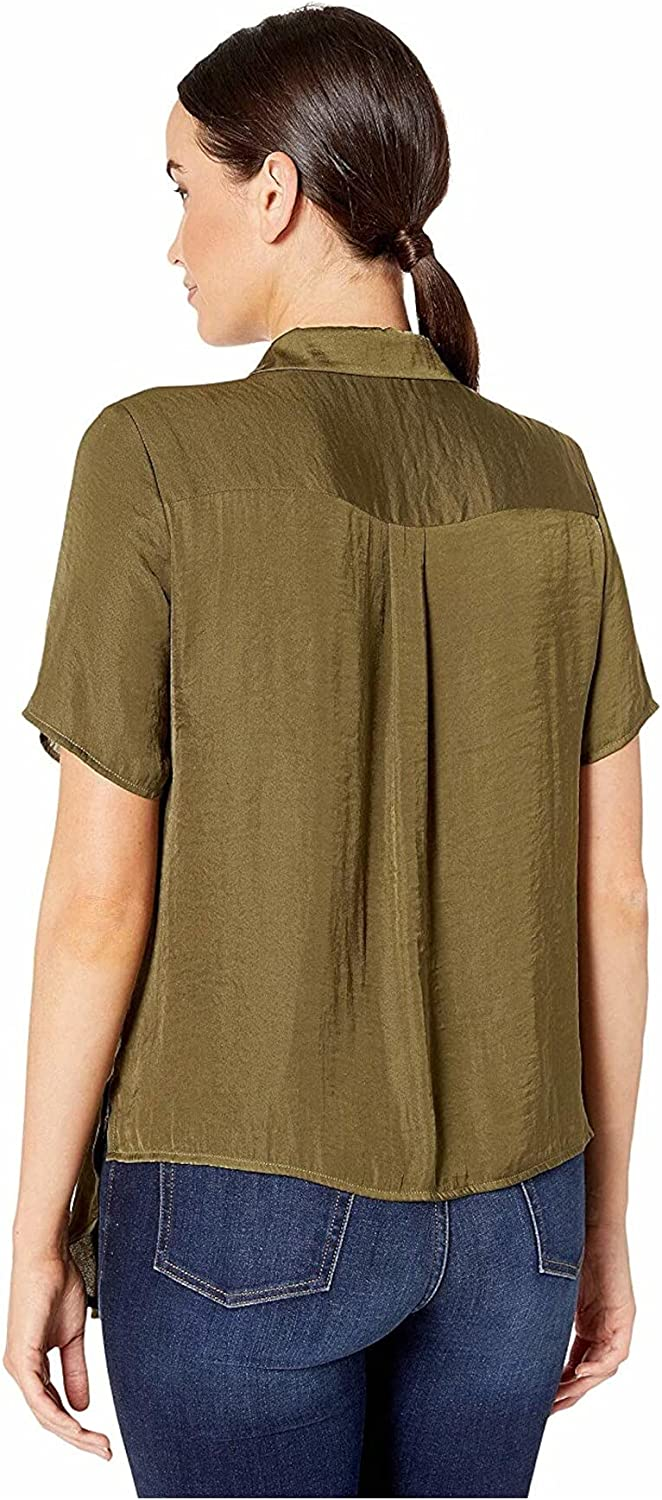 Vince Camuto Short Sleeve Tie Front Button Down Rumple Blouse Green Oasis MD