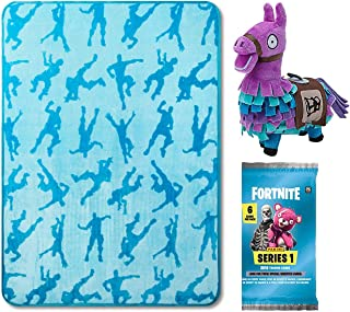 Fortnite Team Silhouettes Gamer Series Purple Llama Plush Character Item Bundled Trading Action Cards Pack & Emotes Blue Throw Blanket Gear 3 Items