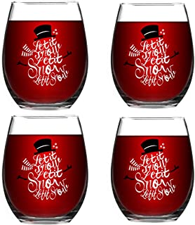 Let it Snow Snowman Stemless Wine Glass Set of 4, 15 Oz Funny Stemless Wine Glasses Gift for Women Friends Men, Perfect Christmas Gift Idea for Mom Wife Girlfriend Sister Wedding Birthday Party