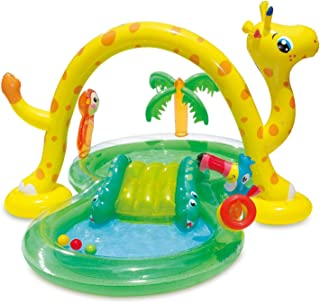 Summer Waves 8.5ft x 6.3ft x 50in Inflatable Jungle Animal Kiddie Swimming Pool Play Center w/Slide