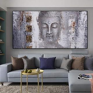 Impression Hd Poster Imprimé Sur Toile,Statue De Bouddha Peinture À L'Huile Abstraite Moderne De Style Art Mural Grand Pei...