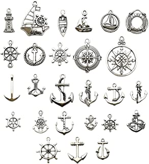 Nautical Charm Collection-50 Pcs Craft Supplies Nautical Ship Wheel Anchor lig Charms Pendants for Crafting, Jewelry Findings Making Accessory For DIY Necklace Bracelet (Antique Silver Nautical Charm)