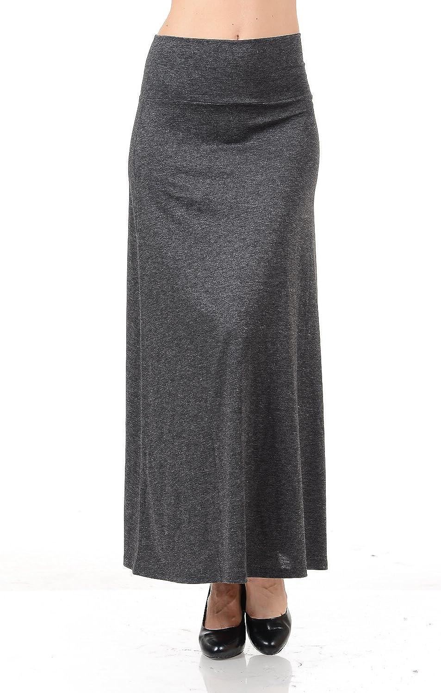 Maryclan Women's Basic Fold Over Relaxed Fit High Waist Regular Maxi Skirt