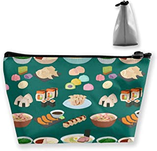 ShuanBBt Sushi Japanese Cuisine Traditional Food Cosmetic Bag,Makeup Organizer,Toiletry Pouch,for Brushes,Pencil Case,Accessories,Travel,Girls,Gift Idea