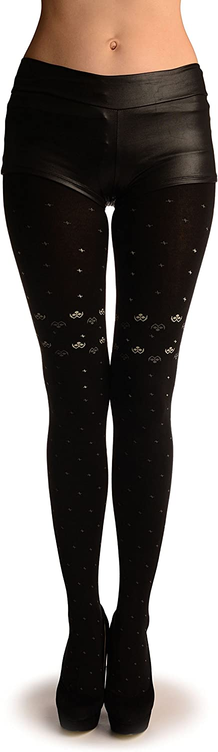 Black Thick Cotton With Small Grey Stars - Pantyhose (Tights)