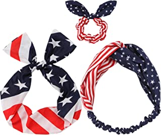 JIPIE 3-Pack of the Stars and Stripes Retro Wire Headbands Stylish Chiffon Bowknot Twist Bunny Ears Head Wrap Bandeau Hair Ribbon Star-Spangled Banner American Flag Hairbands for Women and Girls