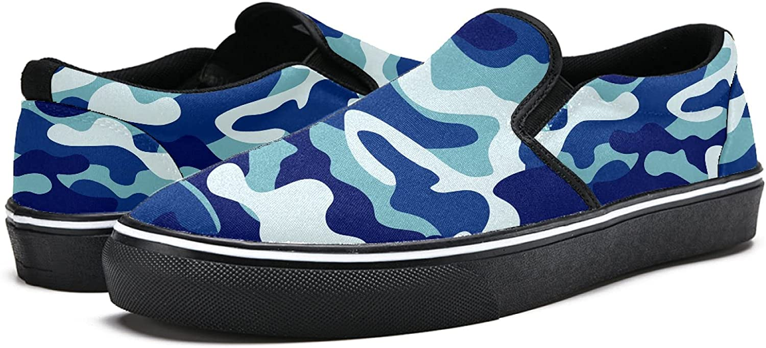 Men's Classic Slip-on Canvas Shoe Fashion Sneaker Casual Walking Shoes Loafers 12 Forest Camouflage Texture