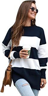 SheIn Women's Striped Rib Knit Sweater Long Sleeve Pull Over