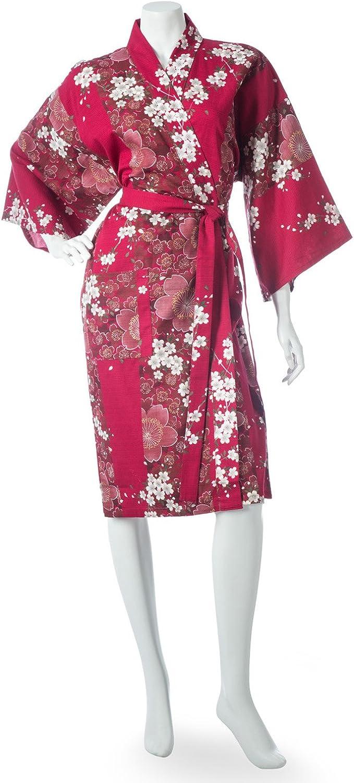 Cherry Blossom Print Short Red Yukata