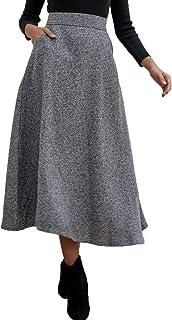 PERSUN Women's High Waist Flared Woolen A-Line Winter Long Skirt with Pockets