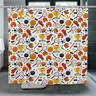 ALUONI Sport Shower Curtain,Abstract Cartoon Style Sporting Goods Tennis Racket Ball Bowling Star Filled Pattern Decorative Bathroom Curtain with Hooks,72