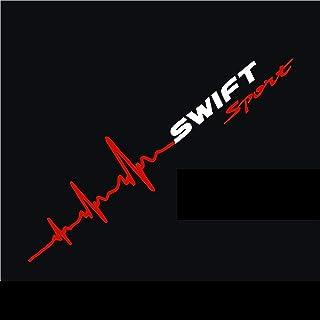 myrockshirt Herzschlag Aufkleber Swift Sport SUZUKIAufkleber ca.50x10 cm Scheibe Sticker Lack Herz HAufkleber Sticker Hochleistungsfolie estrellina Glücksstern