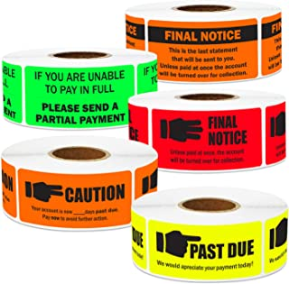 5 Rolls - Past Due Label Bundle for Collections & Billing Various Colors 2.25