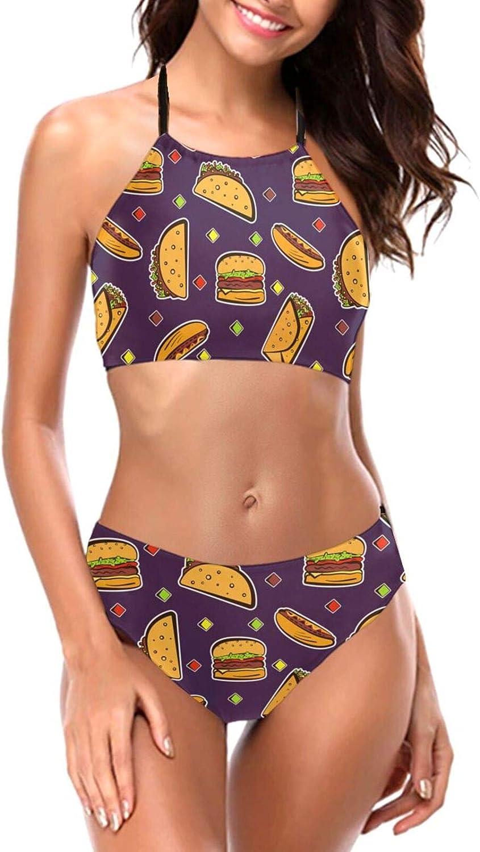 Cartoon Burrito Genuine Free Shipping Food Pattern Women's Set Bikini Neck Halter High Max 87% OFF