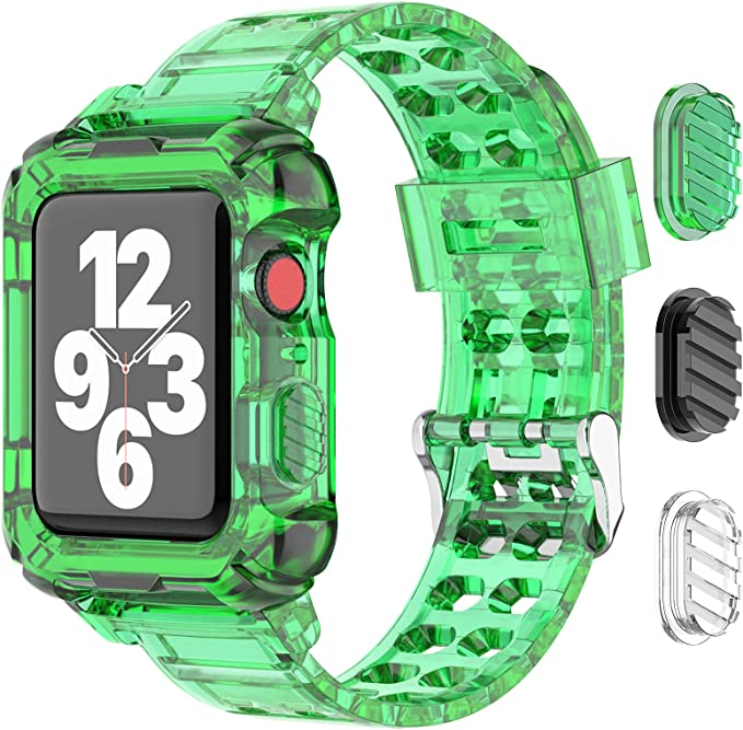 SKYLET Sport Band Compatible with Apple Watch 44mm 42mm 38mm 40mm Men Women iWatch Series 6 5 4 3 2 1 SE with Rugged Bumper Case, Clear Transparent Soft TPU Sport Replacement Crystal iWatch Wristbands