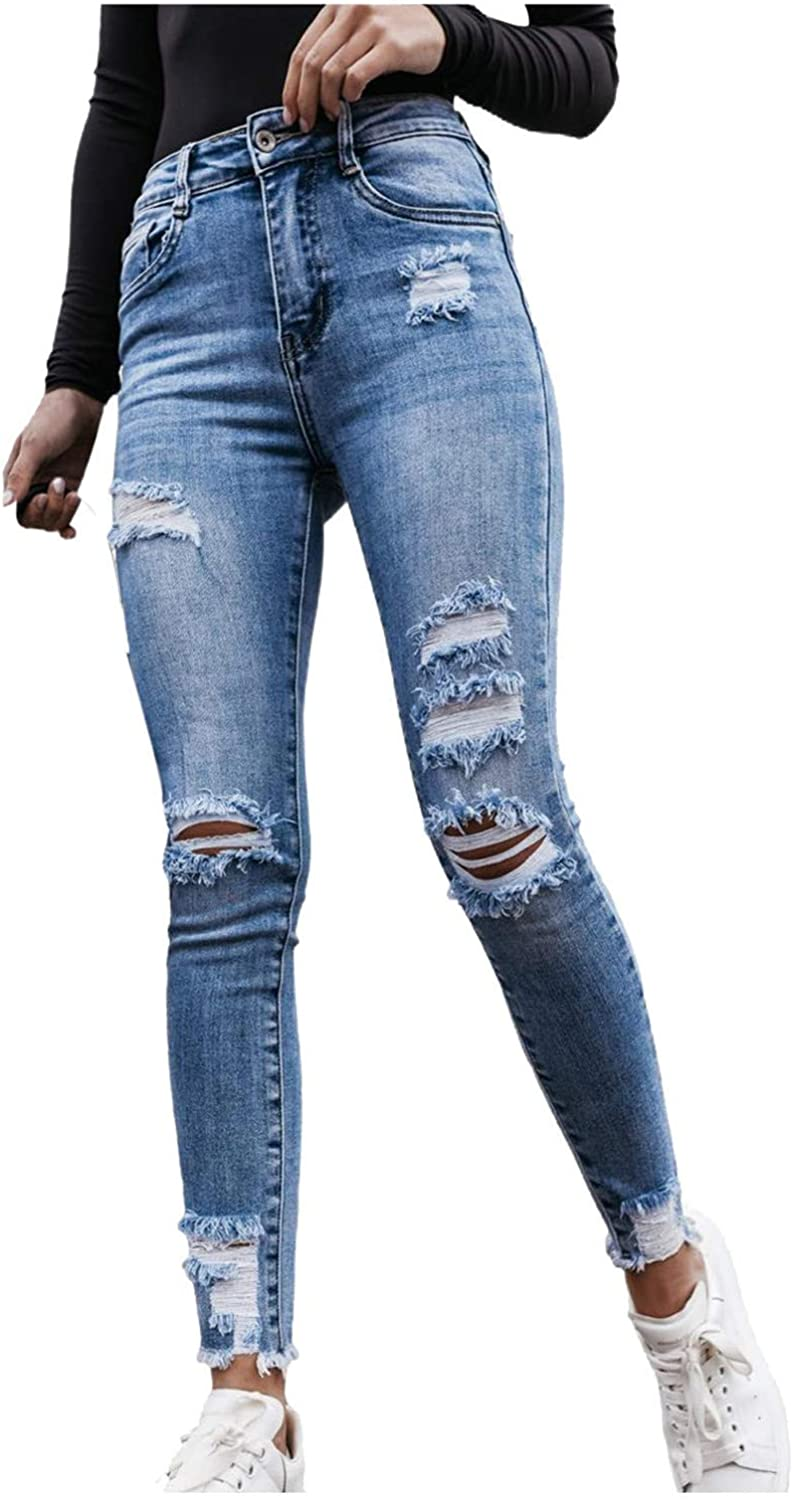 MASZONE High Waisted Jeans for Women Slim Fit Stretch Ripped Jeans Fashion Y2K Skinny Denim Pants Vintage Streetwear