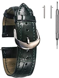 Leather Watch Band, Alligator Embossed Strap for Men or Women Choice of 16mm 18mm 20mm 22mm with Silvery Buckle