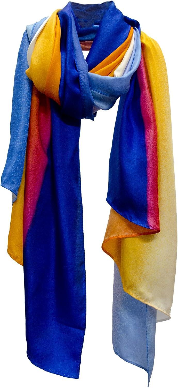Dawn Printed Silk Fine Art Scarf Stole Shawl Wrap Sarong bluee orange Red