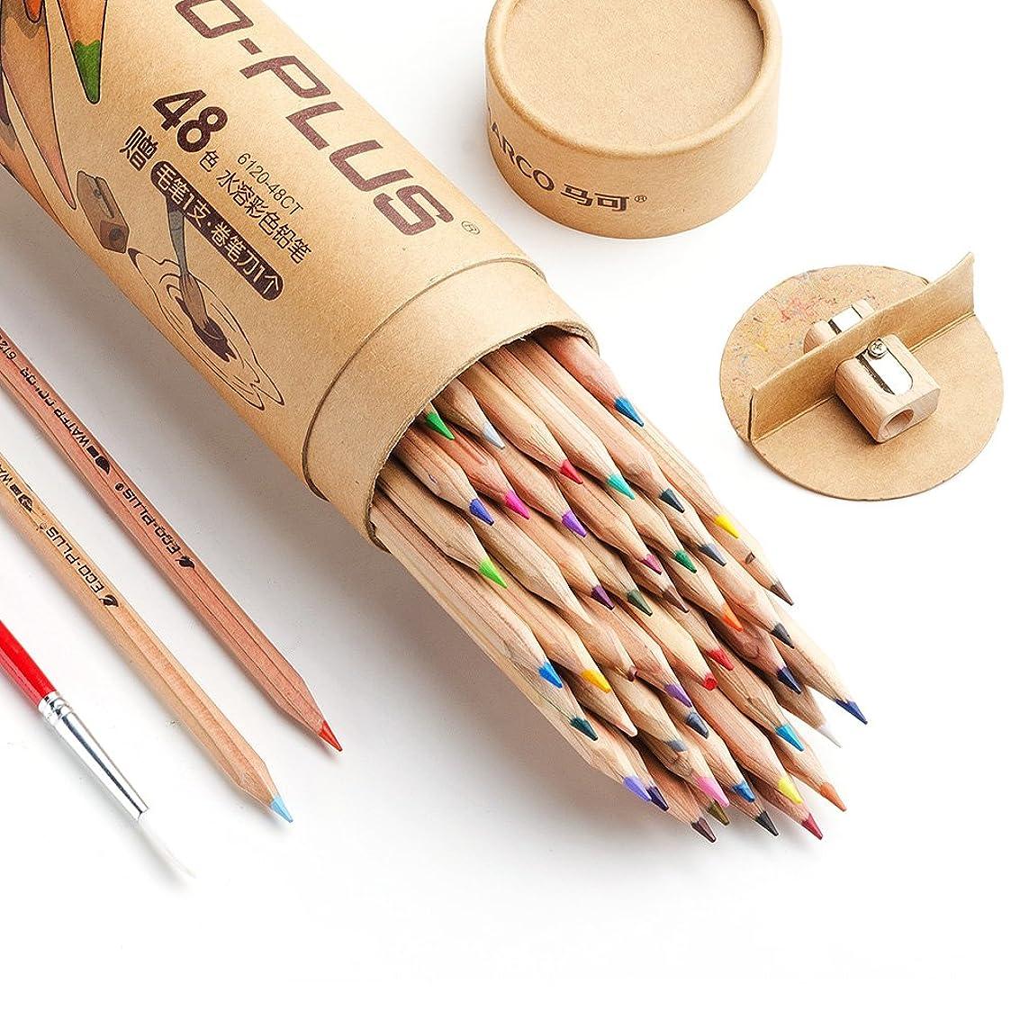 投資アシュリータファーマンフォルダMarco 水彩色鉛筆 48色 セット シャープナー;ブレンディングペン付き 初心者、学生向け