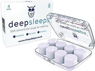 Ear Plugs for Sleeping by Deep Sleeps - 4 Pairs - Reusable & Custom Fit Soft Silicone Earplugs - The Best Ear Plugs for Sleeping - UK No1 Best Seller