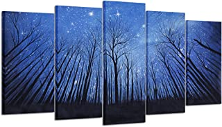 Kreative Arts - Starry Night Canvas Wall Art Black Tree Landscape Prints Wall Decal Artwork Forest Painting Prints Stretch...