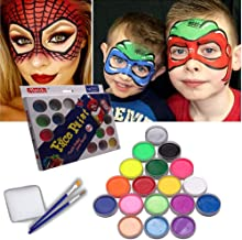 Meidu Face Paint Kits Professional for Kids - Adult Halloween Makeup Face Painting Suppli& Body Paint 18 Classic Colors & 2X Brushes for Party Non-Toxic Certified Safe