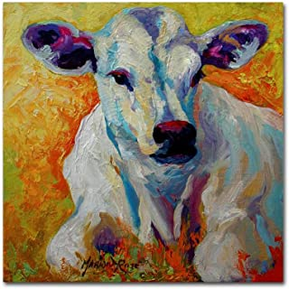 White Calf by Marion Rose, 14x14-Inch Canvas Wall Art