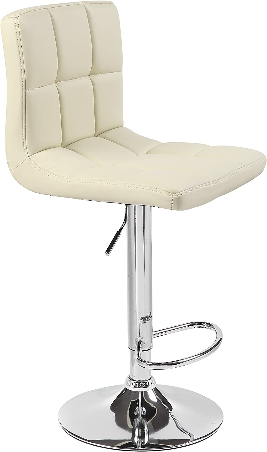 HNNHOME Cuban Faux Leather Breakfast Kitchen Bar Stool Cream