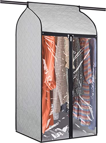 Univivi Hanging Garment Bags 43 inch Organizer Storage with Large Clear Window Garment Rack Cover Well-Sealed Closet ...