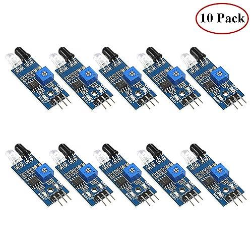 HONG111 IR Infrared Obstacle Avoidance Sensor Module for Arduino Smart Car Robot, Infrared Tube Module, Photoelectric Reflection Sensor (10 Pack)