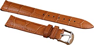 12mm-22mm Brown Luxury Leather Watch Bands Replacement for Women Moderate Padding Genuine Cowhide