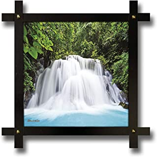 Poster N Frames Cross Wooden Frame Hand-Crafted with Photo of Vastu Waterfall Size (16.5x16.5inch,wood,multicolour)